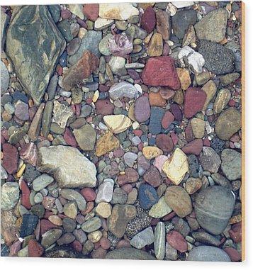 Colorful Lake Rocks Wood Print by Kerri Mortenson