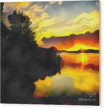 Colors At The Lake Wood Print by Odon Czintos