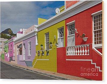 colourful buildings in Bo-Kaap Wood Print by Juergen Ritterbach