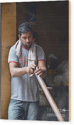 Wood Print featuring the photograph Cooking Breakfast Early Morning Lahore Pakistan by Imran Ahmed