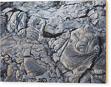 Cooled Pahoehoe Lava Flow Wood Print by Sami Sarkis