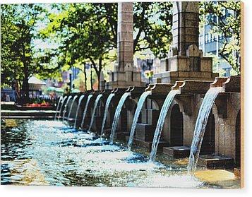 Copley Square Fountain In Boston Wood Print by Boris Mordukhayev