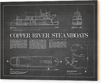 Copper River Steamboats Blueprint Wood Print by Aged Pixel