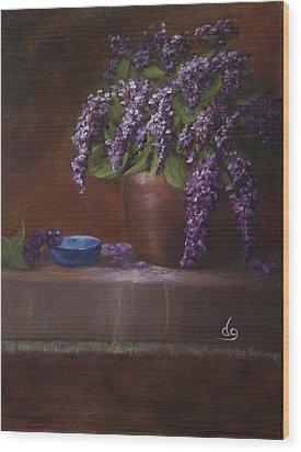 Copper Vase And Lilacs Wood Print