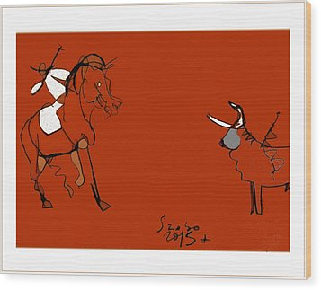 Corrida Equestre 2013 Wood Print by Peter Szabo