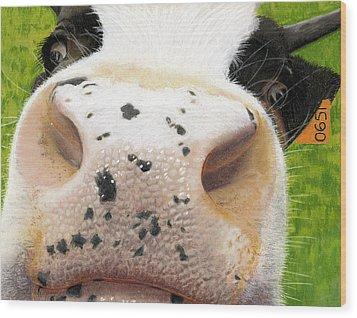 Cow No. 0651 Wood Print by Carol McCarty