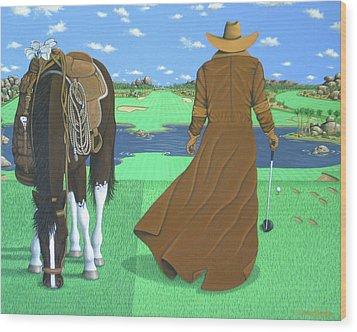 Cowboy Caddy Wood Print by Lance Headlee