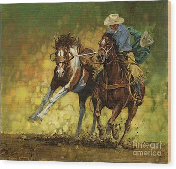 Rodeo Pickup Wood Print by Don  Langeneckert