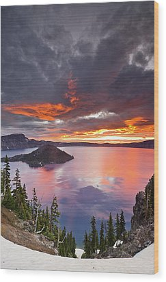 Crater Lake Dawn Wood Print by Greg Nyquist