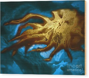 Wood Print featuring the mixed media Cthulhu Arisen by Steed Edwards