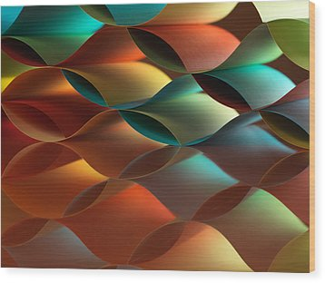 Curved Colorful Sheets Paper With Mirror Reflexions Wood Print by Dan Comaniciu