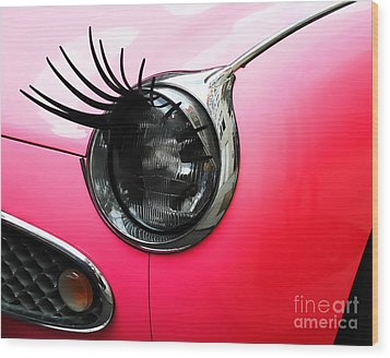 Cute Pink Car Wood Print by Jasna Buncic