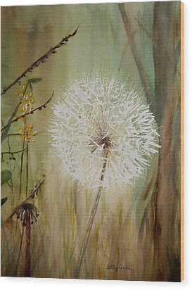 Dandelion Wood Print by Betty-Anne McDonald
