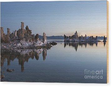 Dawn On Mono Lake Wood Print by Sandra Bronstein