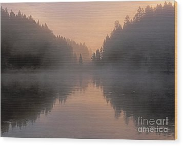 Dawn On The Yellowstone River Wood Print by Sandra Bronstein
