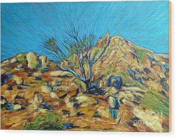 Desert Tree In Blazing Sun Wood Print