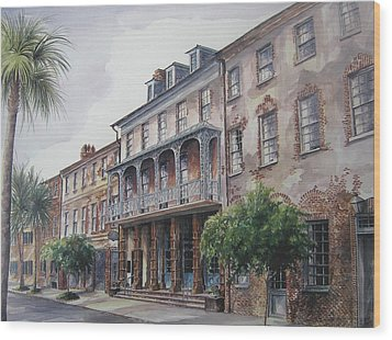 Wood Print featuring the painting Dock Street Theatre by Gloria Turner