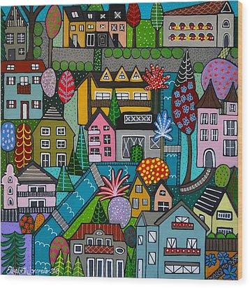 Dorf Im Fruhjahr Square Wood Print