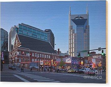 Downtown Nashville Wood Print by Brian Jannsen