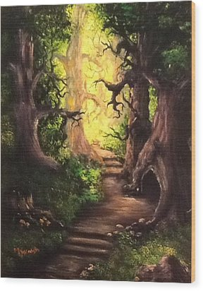 Wood Print featuring the painting Druid Forest by Megan Walsh