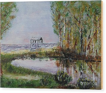 Wood Print featuring the painting Fairhope Al. Duck Pond by Melvin Turner