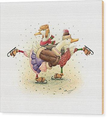 Ducks Christmas Wood Print by Kestutis Kasparavicius