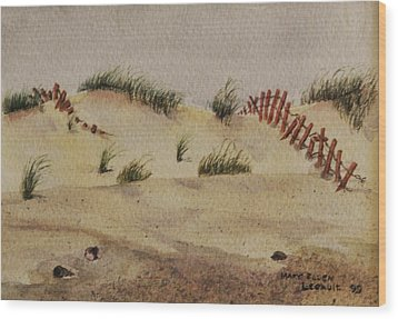Wood Print featuring the painting Dunes by Mary Ellen Mueller Legault