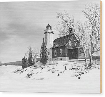 Eagle Harbor Lighthouse Wood Print by Darren Kopecky