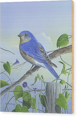 Wood Print featuring the painting Eastern Bluebird by Mike Brown