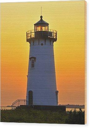 Edgartown Light Wood Print by Dan Myers