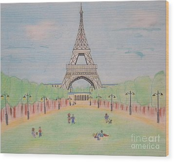 Wood Print featuring the pastel Eiffel Tower by Denise Tomasura