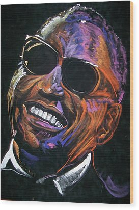 electric Ray Charles Wood Print by Peter Suhocke