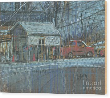 Wood Print featuring the painting Emissions Testing by Donald Maier
