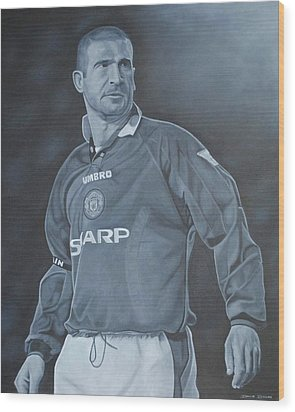 Wood Print featuring the painting Eric Cantona I by David Dunne