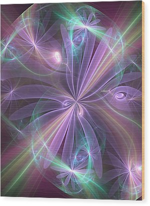 Ethereal Flower In Violet Wood Print