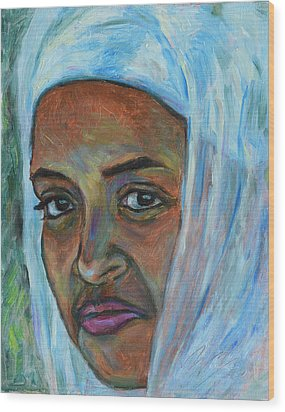 Wood Print featuring the painting Ethiopian Lady by Xueling Zou