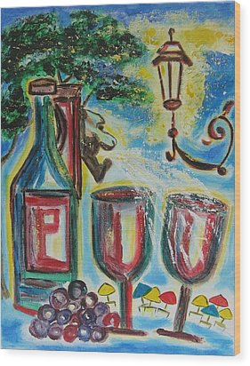 Wood Print featuring the painting European Wine by Diane Pape