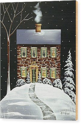 Evergreen Cottage Wood Print by Catherine Holman