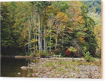 Fall Color River Wood Print by Thomas R Fletcher