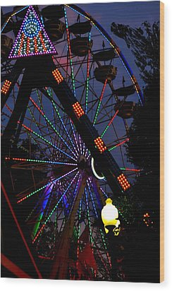 Fall Festival Ferris Wheel Wood Print by Deena Stoddard