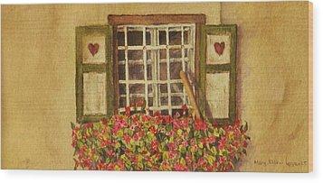 Farm Window Wood Print by Mary Ellen Mueller Legault