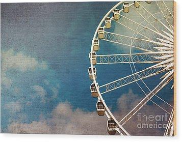 Ferris Wheel Retro Wood Print by Jane Rix