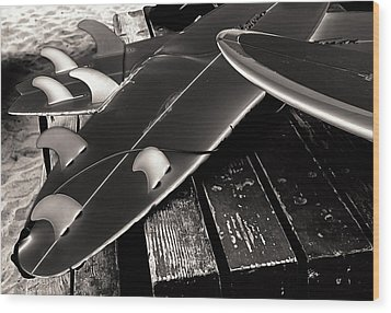 Fins And Boards Wood Print by Ron Regalado