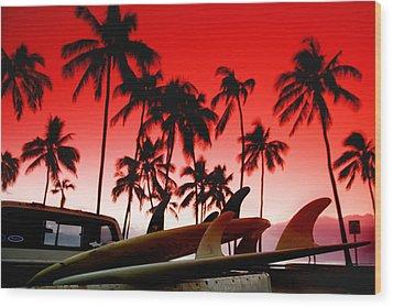 Fins N' Palms Wood Print by Sean Davey