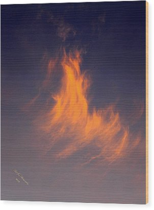 Fire In The Sky Wood Print by Jeanette C Landstrom