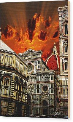 Wood Print featuring the photograph Firenze La Cattedrale Di Santa Maria Del Fiore - Florence The Cathedral Of Santa Maria Del Fiore by Ze  Di