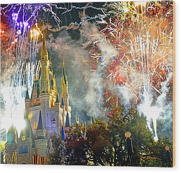 Fireworks Cinderellas Castle Walt Disney World Wood Print