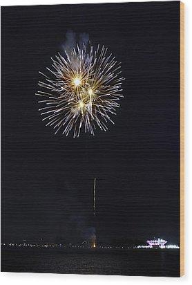 Fireworks Shell Burst Over The St Petersburg Pier Wood Print by Jay Droggitis