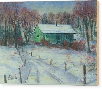 First Snow Wood Print by Bruce Schrader