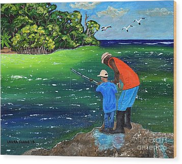 Wood Print featuring the painting Fishing Buddies by Laura Forde